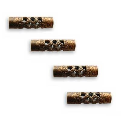 Vintaj Natural Brass Filigree Tube Beads 13mm (4)