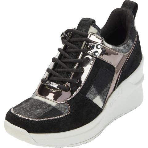 DKNY Womens Leo Fashion Sneakers Suede Wedge