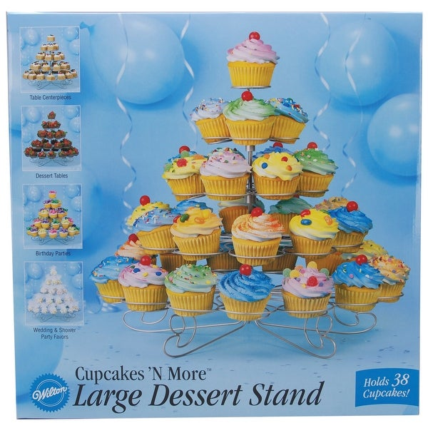"""Cupcakes 'N More Large Dessert Stand-Silver 15""""X18"""" Holds 38 Cupcakes"""