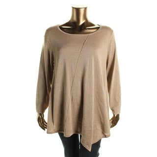 NY Collection Womens Plus Metallic Knit Pullover Sweater
