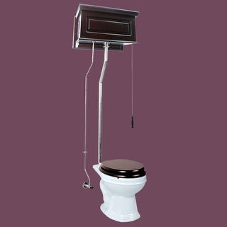 Dark Oak High Tank Pull Chain Toilet Raised Round Chrome | Renovator's Supply