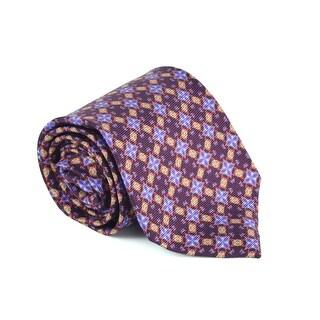 Etro Mens Burgundy 100% Silk Geometric Print 3.25 In Standard Tie - One size