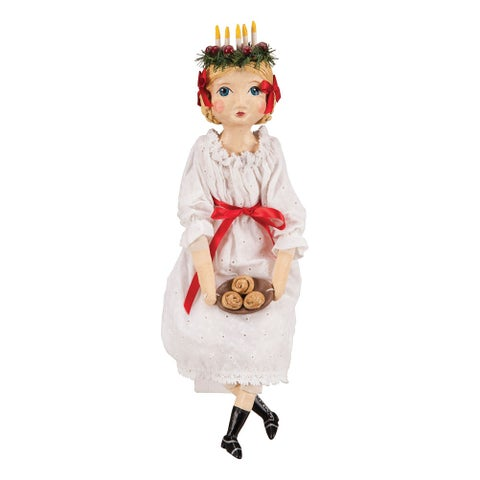 Saint Lucia Doll - Swedish Traditional Costume - Hand Crafted - MultiColor - 6 in. x 14 in. x 20 in.