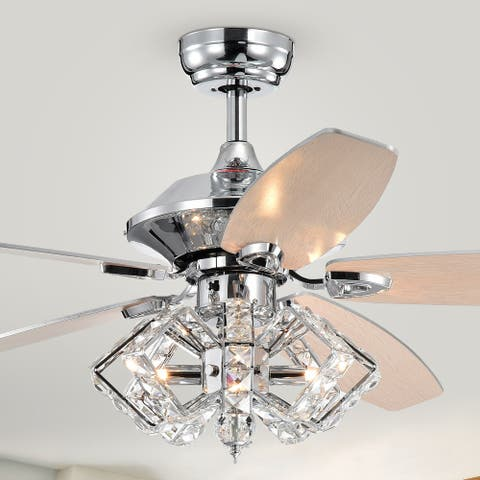 Silver Orchid Pitts 5-Blade Lighted Ceiling Fan w/ Pentagon Crystal Shade