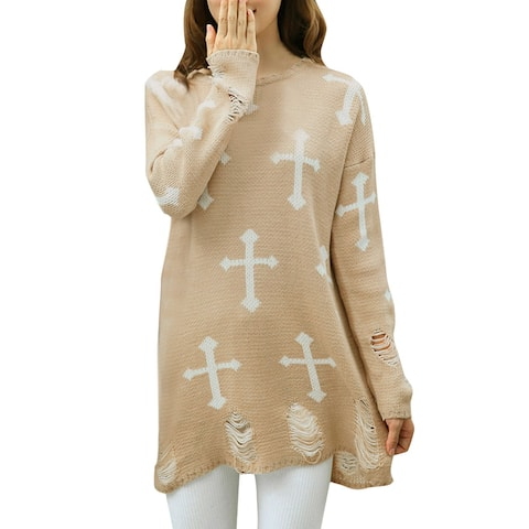 Women Slipover Cross Pattern Casual Long Sleeves Sweater Khaki /XL (US 18)