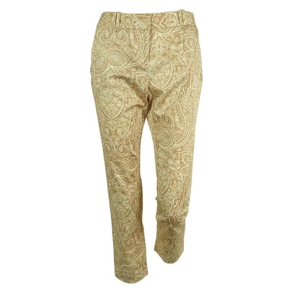 Charter Club Women's Slim Leg Paisley Print Ankle Pants - almond combo
