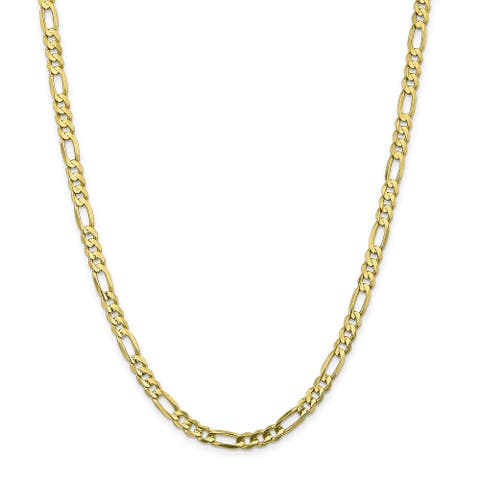 10K Yellow Gold 5.5mm Polished Light Concave Figaro Chain by Versil