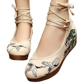 Women fashion Casual Shoes BalletCloth Embroidered Shoes Pine Crane beige 34