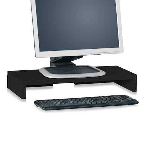 Way Basics Eco Friendly Computer Monitor Stand, Black Wood Grain - Tool-Free Assembly - Non Toxic - LIFETIME GUARANTEE