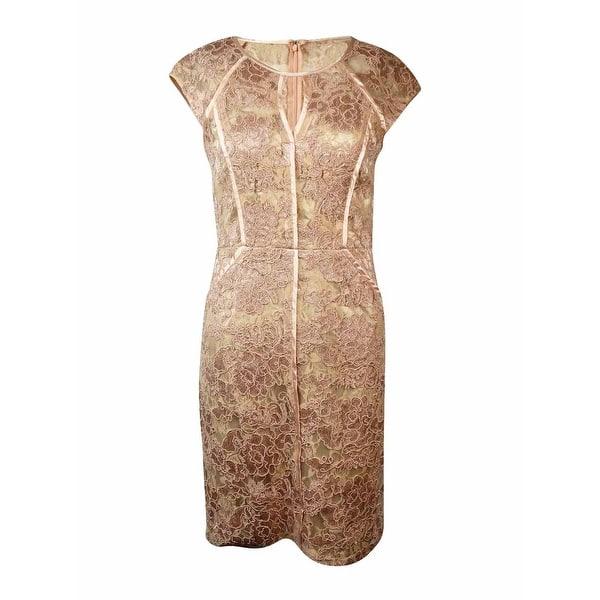 Decode 18 Womens Satin Pipe Trim Illusion Lace Sheath Dress