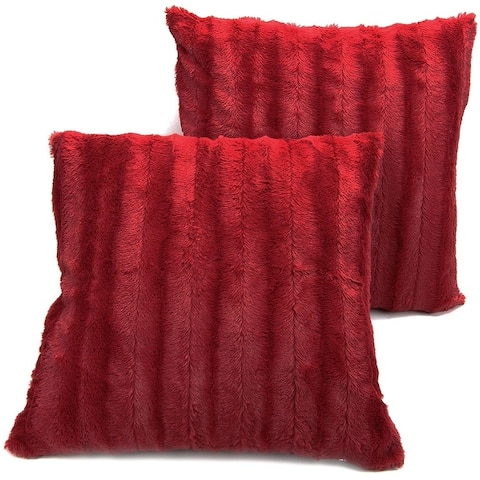 Cheer Collection Faux Fur Throw Pillow (Set of 2)