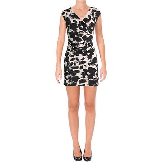 Kasper Womens Petites Wear to Work Dress Printed Wrap Front