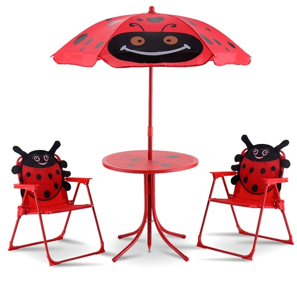 Shop Costway Kids Patio Set Table And 2 Folding Chairs W Umbrella