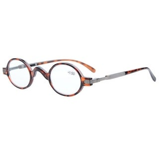 Eyekepper Readers Spring Temple Vintage Mini Small Oval Round Reading Glasses Tortoise +4.0 - +4.00