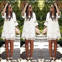 Fashion Women hot Lace Women Round Neck Long Sleeve Silm Casual Mini Party Dress Plus Size