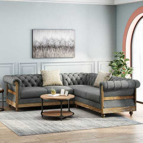 Voll Tufted 5 Seater Sectional Sofa with Nailhead Trim by Christopher Knight Home