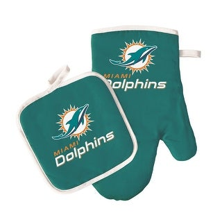 """Link to Miami Dolphins Oven Mitt and Pot Holder - 6 1/2"""" by 6 1/2"""" and oven mitt 10 1/2"""" long Similar Items in Fan Shop"""
