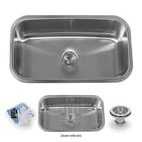 "Miseno MSS3219C 32"" Undermount Single Basin Stainless Steel Kitchen Sink - Drain Assembly, Basin Rack and Maintenance Kit"