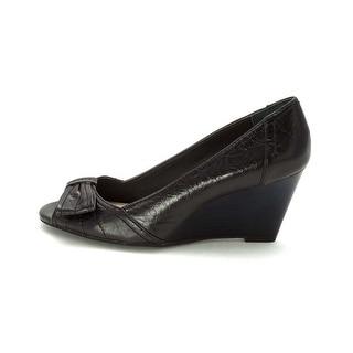 Giani Bernini Nadir Women Peep Toe Leather Wedge Heel