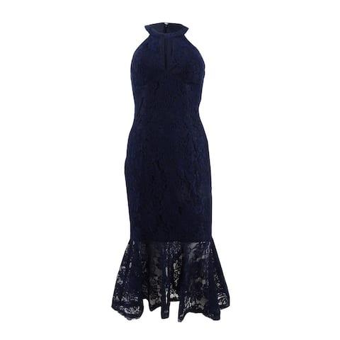 X By Xscape Women's Lace Keyhole Halter Dress (10, Navy)