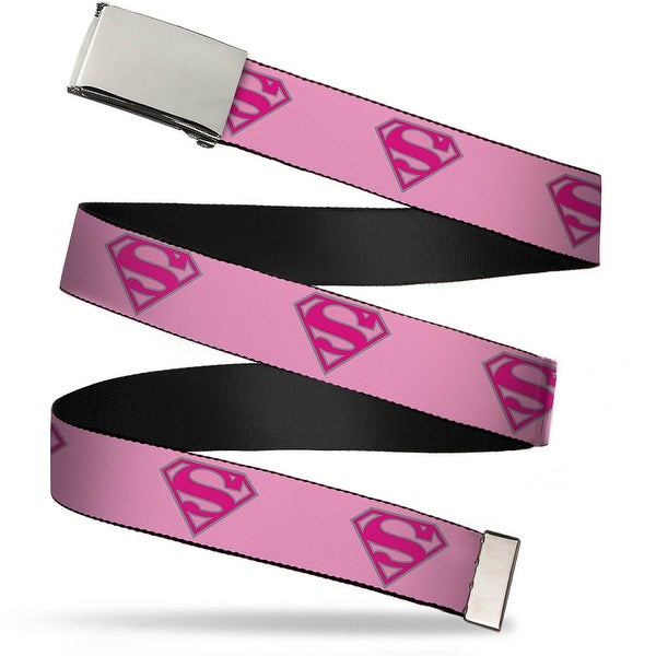 Blank Chrome Buckle Superman Shield Pink Webbing Web Belt