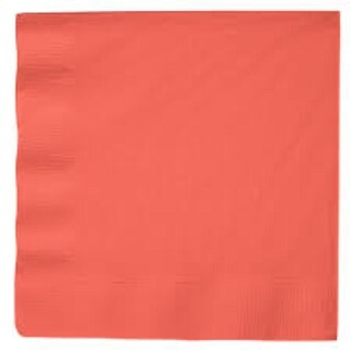 """Club Pack of 600 Solid Coral Pink 2-Ply Disposable Paper Party Luncheon Napkins 6.5"""""""