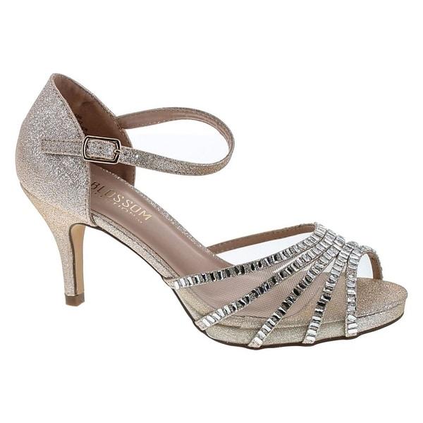Blossom Roma-22 Sparkle Mesh Rhinestone Mid Heel Prom Party Dress Sandal Shoes
