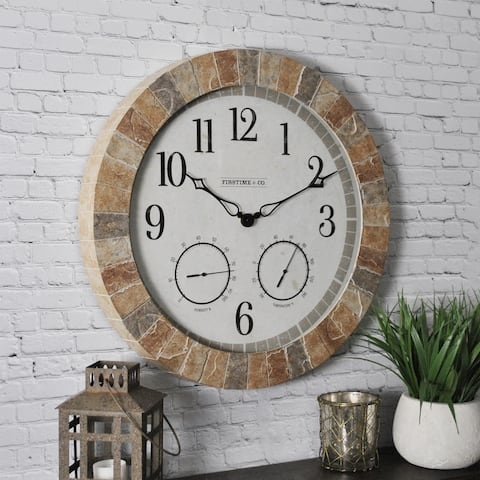 FirsTime & Co.® Sandstone Outdoor Clock, American Crafted, Tan Stone, Plastic, 18 x 2 x 18 in - 18 x 2 x 18 in