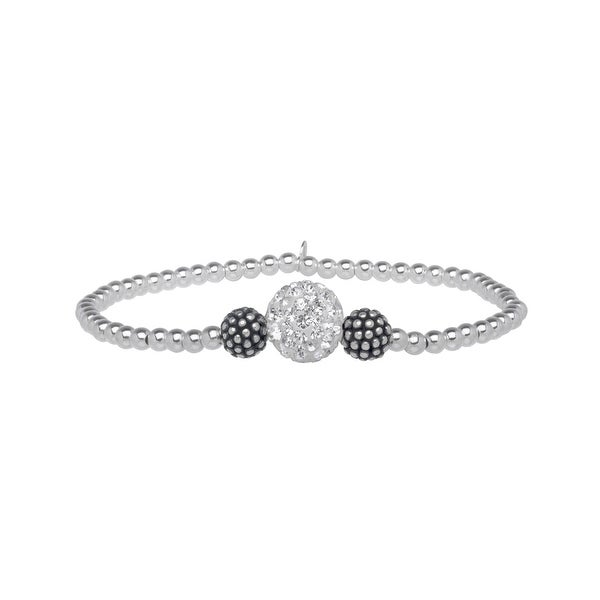 Beaded Stretch Bracelet with Swarovski elements Crystals in Sterling Silver