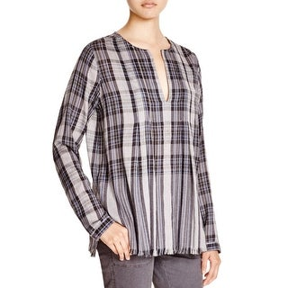 Pure DKNY Womens Tunic Top Wool Blend Plaid