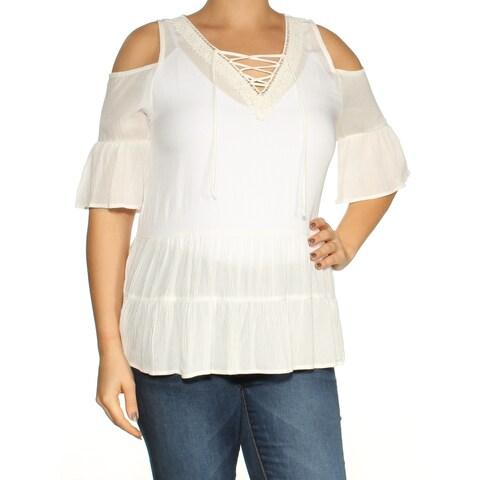 BCX White Ruffled Cold Shoulder 3/4 Sleeve V Neck Top Size: L