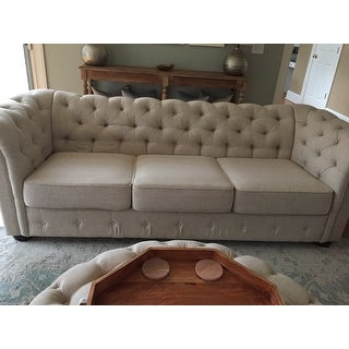 Knightsbridge Beige Fabric Button Tufted Chesterfield Sofa and Seating by iNSPIRE Q Artisan
