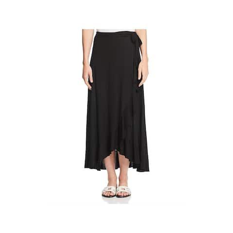 Three Dots Womens Wrap Skirt Jersey Flounce - L