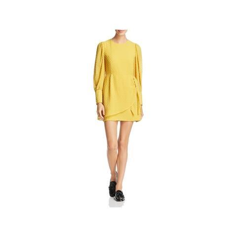 Yumi Kim Womens Shift Dress Textured Dot Faux-Wrap - Marigold - L