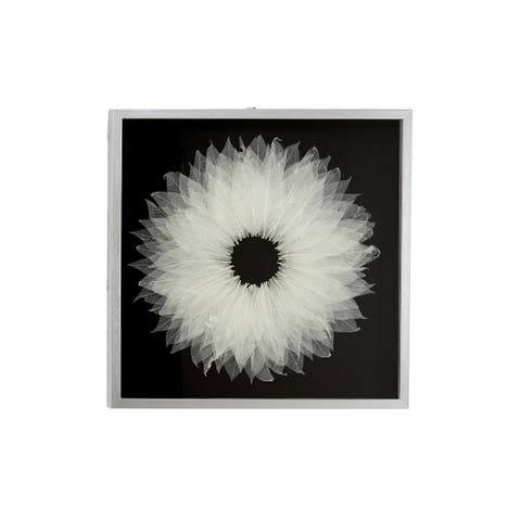 "White Leaf Natural Wall Decor Shadow Box w Silver Frame 23.5"" x 23.5"" - 24 x 2 x 24"