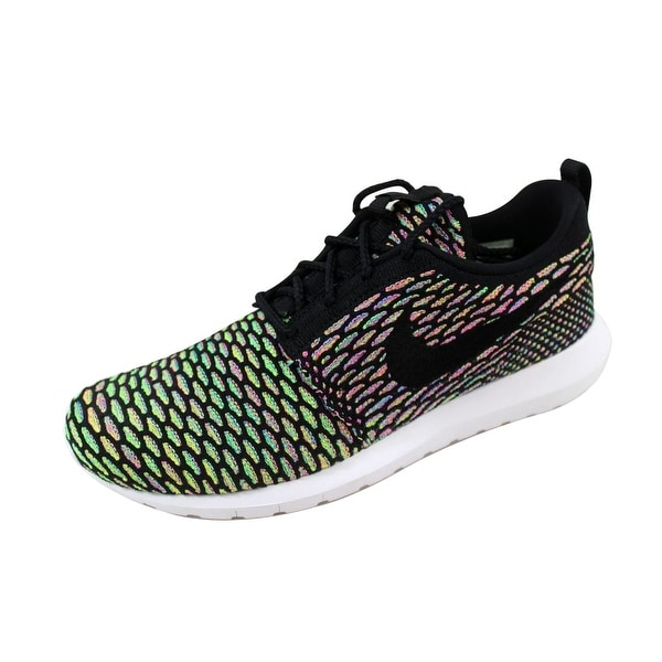 Nike Men's Roshe NM Flyknit Black/Black-Pink Power-Blue Glow 677243-013