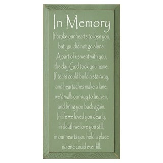 In Memory Green Wooden Wall Plaque