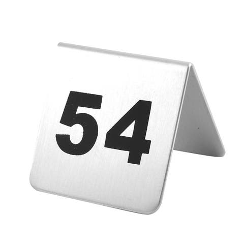 Restaurant Stainless Steel Free-standing Number 54 Table Sign Black Silver Tone