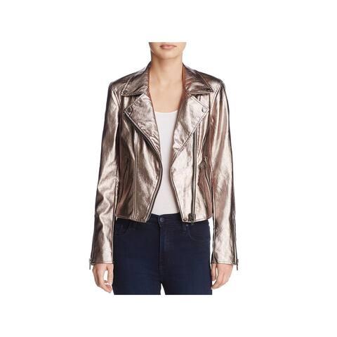 Blank NYC Womens Moto Coat Metallic Faux Leather