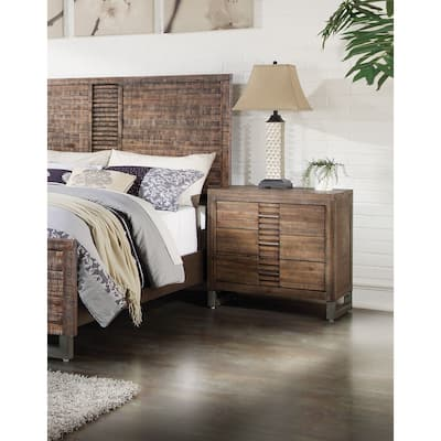 Transitional Andria Dovetail Nightstand with 3 Drawers -Reclaimed Oak