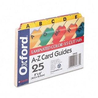 Laminated Index Card Guides- Alpha- 1/5 Tab- Manila- 4 x 6- 25/Set