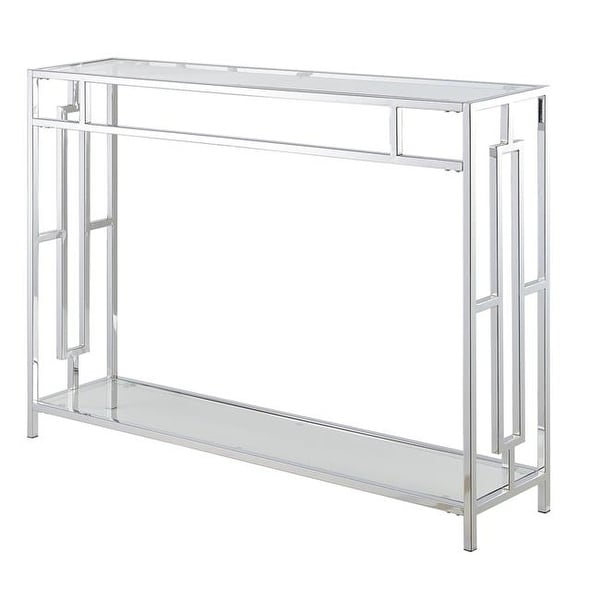Shop Town Square Console Table Clear Glass Chrome Frame Free