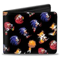 Sonic Classic Sonic Tails Knuckles Pixelated Pose Run Roll Black Bi Fold Bi-Fold Wallet - One Size Fits most