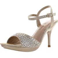 De Blossom Collection Womens Lin-83 Mid Heel Stunning Dress Ankle Strap Sandals - nude sparkle