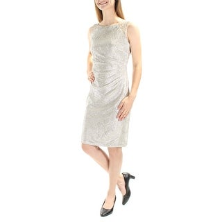 Womens Silver Striped Sleeveless Shift Party Dress Size: 6