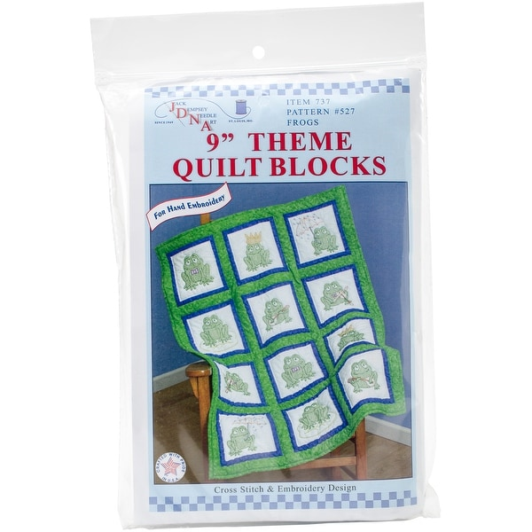 "Themed Stamped White Quilt Blocks 9""X9"" 12/Pkg-Frogs"