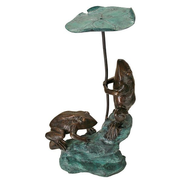 Design Toscano Lily Pad Umbrella Frogs Solid Cast Bronze Garden Statue
