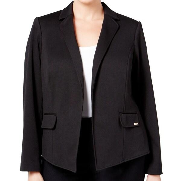 3d7f3f22782601 Shop Calvin Klein Black Notch-Collar Women s 24W Plus Open-Front ...