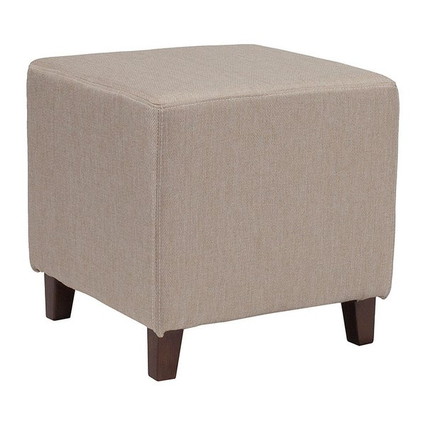 Offex Ascalon Contemporary Upholstered Ottoman Pouf in Beige Fabric