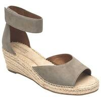 Rockport Women's Cobb Hill Kairi 2 Piece Ankle Strap Wedge Taupe Leather